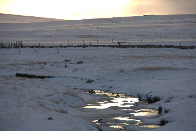 Burn of Gerdie, Baltasound, in the snow