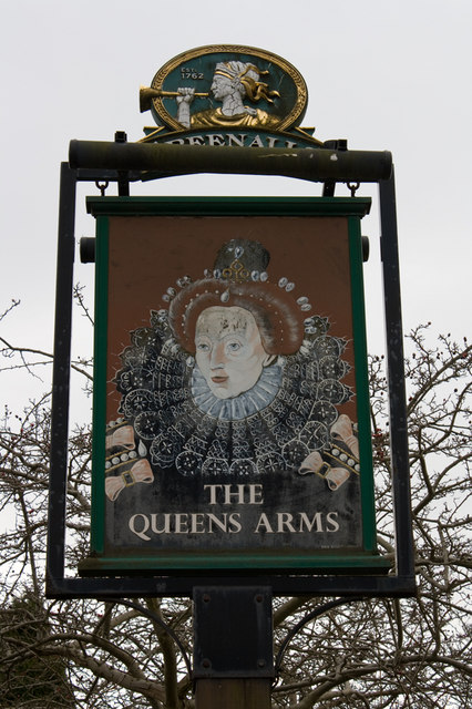 Queens Arms, Dawley Bank, pubsign
