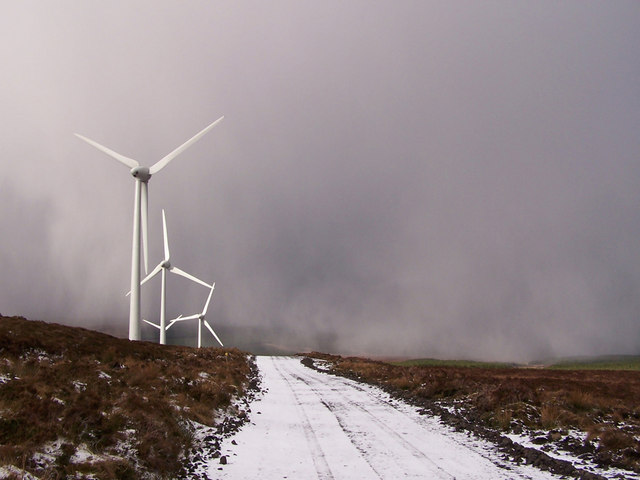 Snow shower over Ben Aketil wind farm
