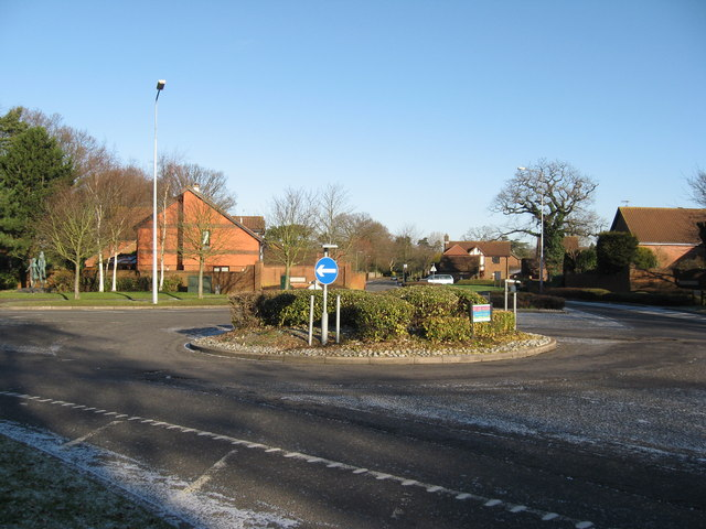 Roundabout on Smallfield Road  at Wheatfield Way entrance to Langshott  Estate, Horley, Surrey  TQ291433