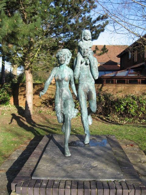 Sculpture at entrance to Langshott  Estate, Horley, Surrey.