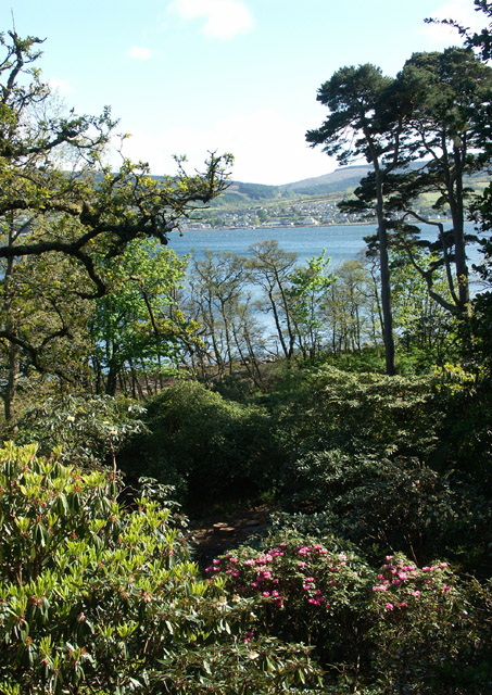 Brodick Castle gardens and view across Brodick Bay