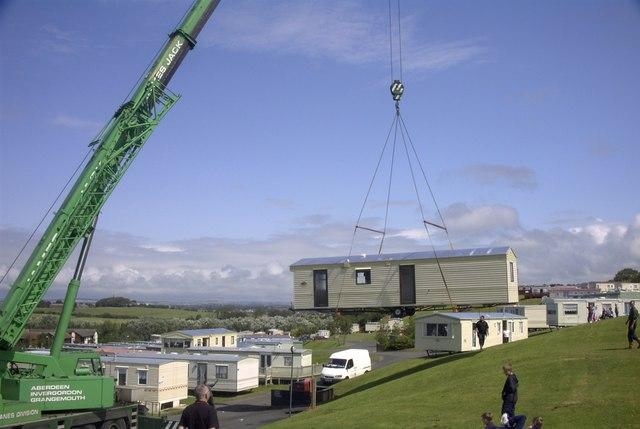New caravan being moved into position at Craig Tara Holiday Park