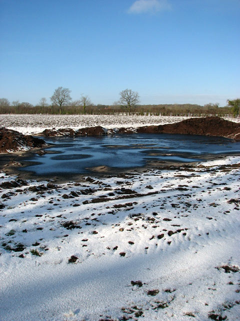 Frozen fields beside Highfield Lane