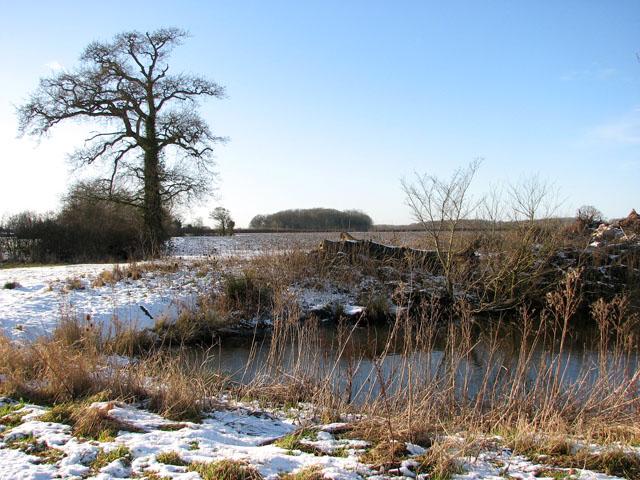 View across pond south of Highfield Farm