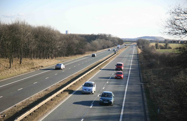 The A1M southwards from Dadsley Well Bridge