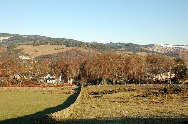 Fields and houses near Tantah, Peebles