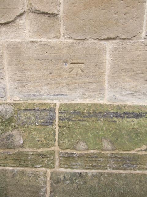 1GL bench mark and bolt on All Saints church, Gresford