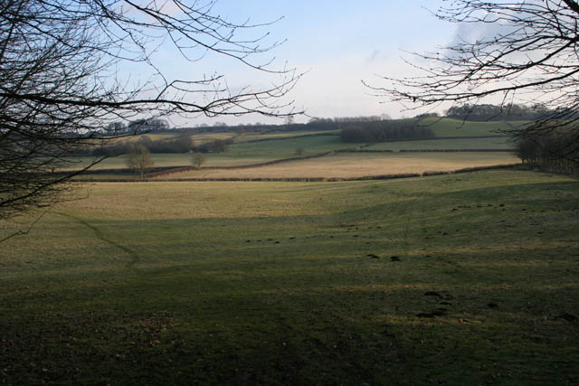 Farmland on the slopes of Lings Hill