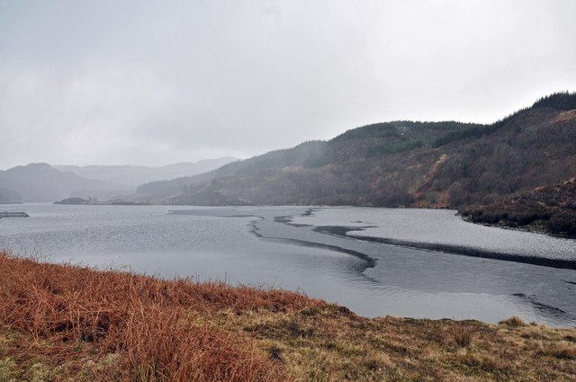Winter squall blowing over Loch an Losgainn Mor