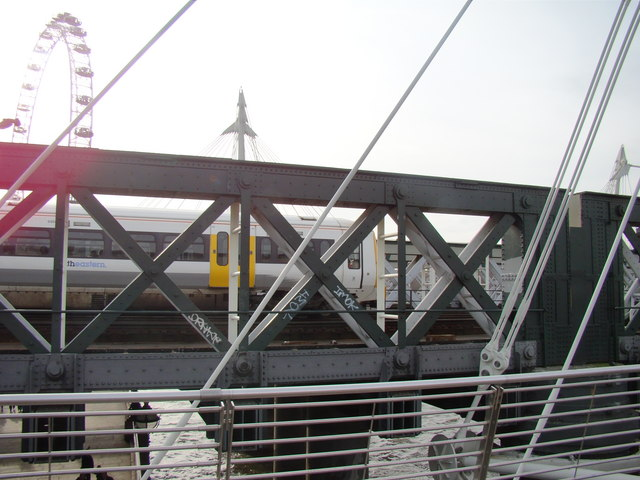 Train on Charing Cross Bridge