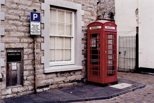 Castletown - Posting box and red phone booth