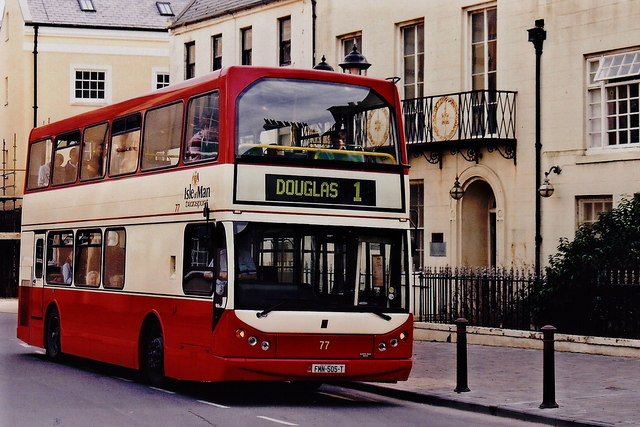 Castletown - Double-decker bus along The Parade