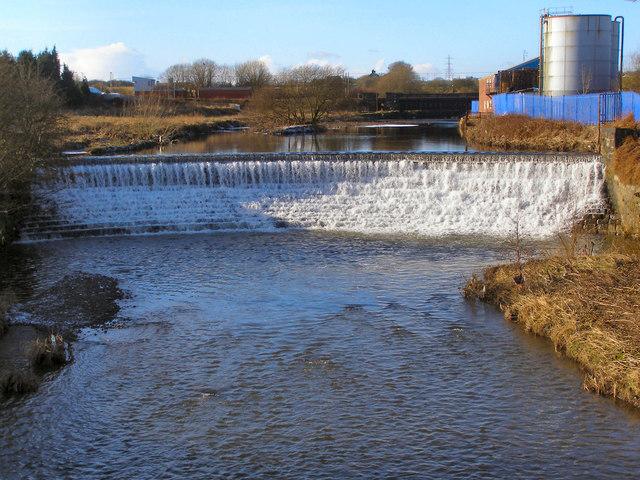 River Irwell, the weir at Warth Mills