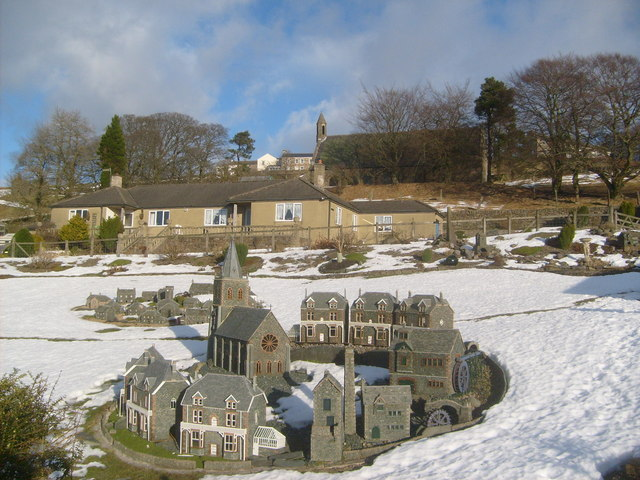 Nenthead's model village in snowscape