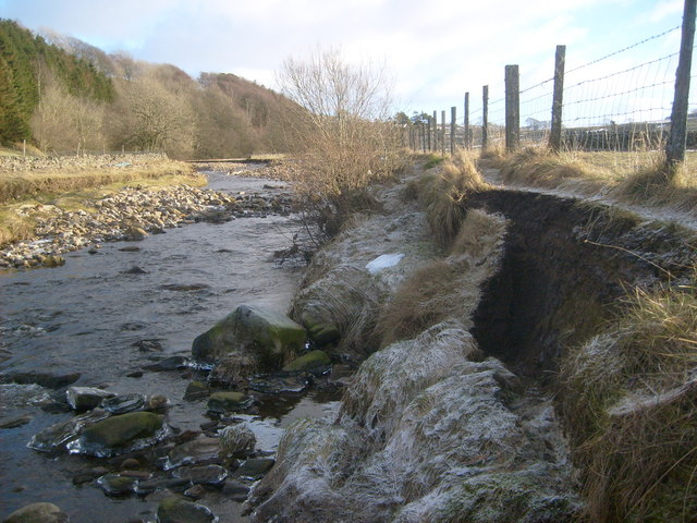 Erosion to riverside footpath on River Nent
