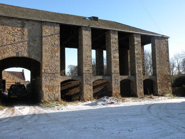 Giant stone Barn at Croxdale Hall