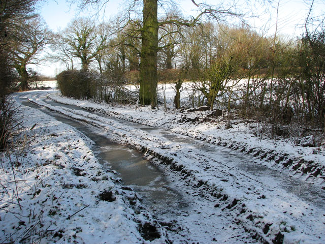 View along a frozen Highfield Lane