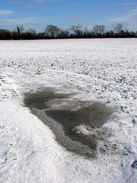 Frozen puddle in frozen field south of Highfield Lane