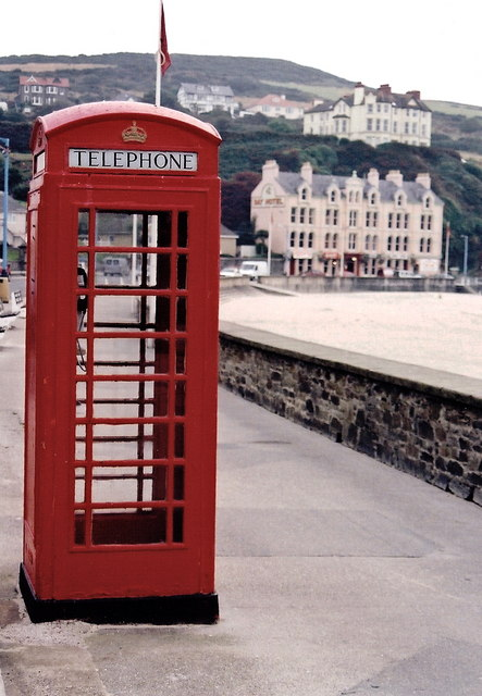 Port Erin - Red phone booth and The Bay Hotel & Pub