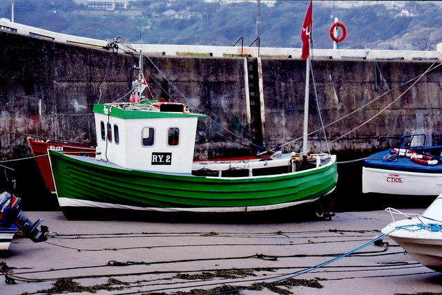 Port Erin - Small fishing boat in Port  Erin harbour