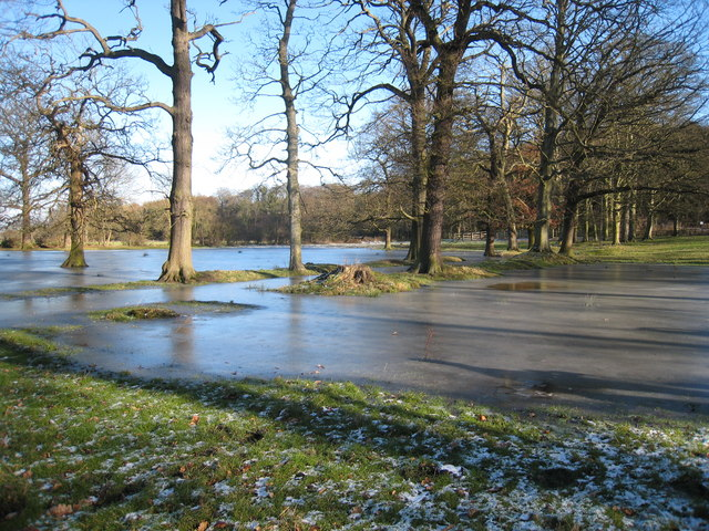 Frozen flood water at Croxdale Hall