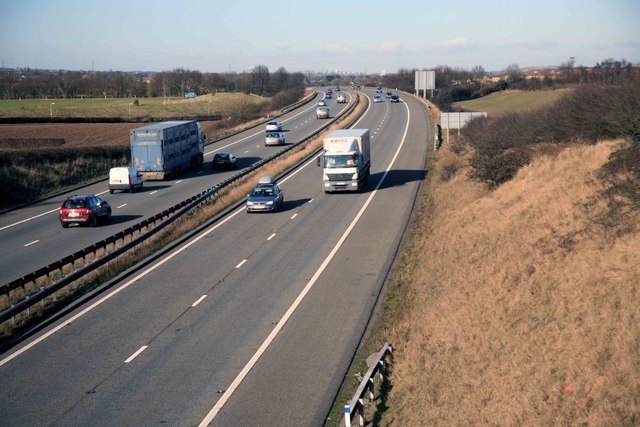 The A1M looking north from overbridge nr Styrrup