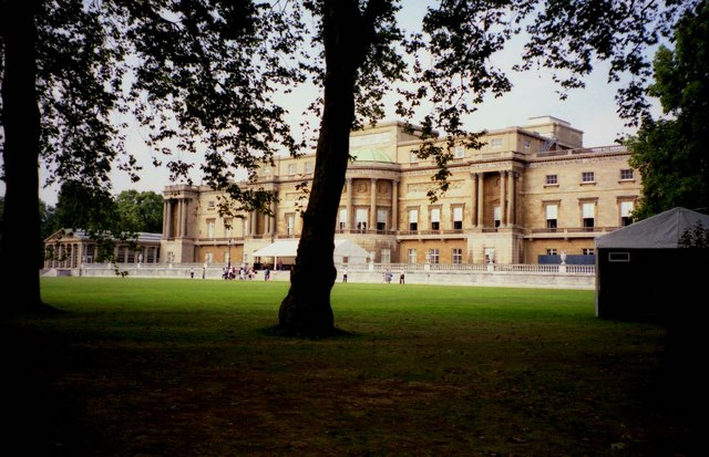 The lawn and the rear of Buckingham Palace