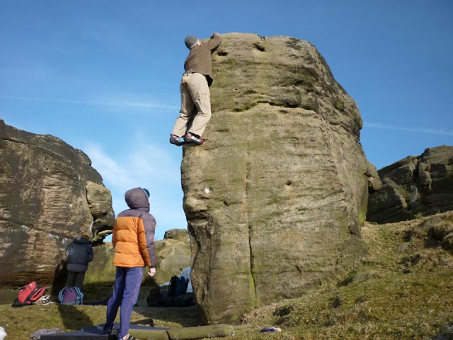 Bouldering on the Bride Stones