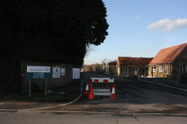Entrance road to Groombridge & Hartfield Medical Group Clinic, Hartfield