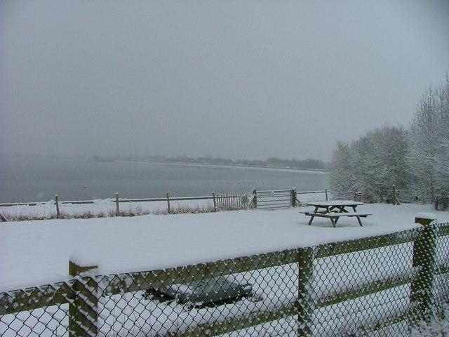 Farmoor Reservoir Picnic Area under snow