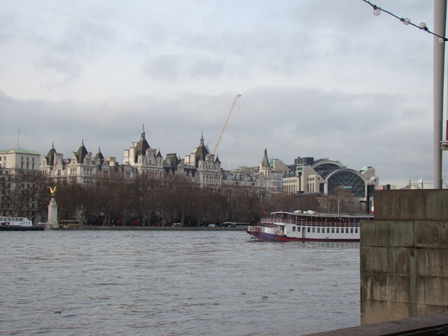 View of the grand white building and War Memorial on Victoria Embankment