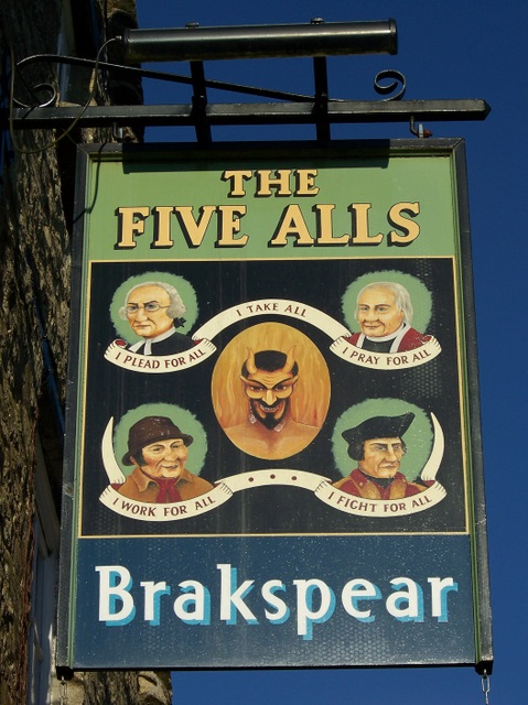 Sign for the Five Alls