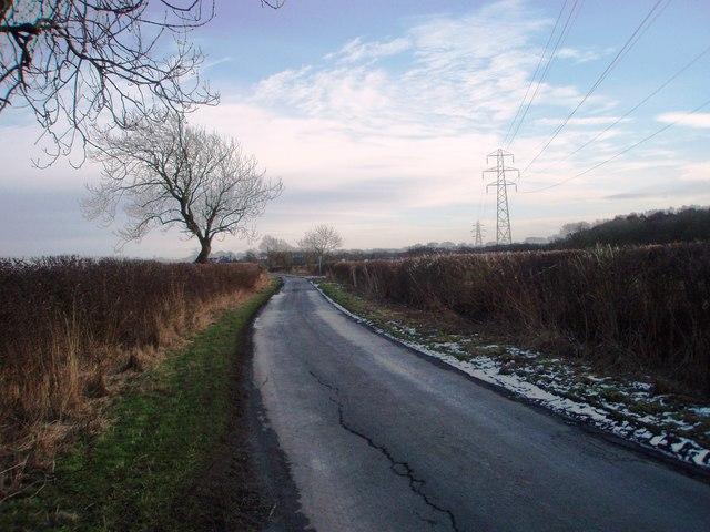 Coatham Lane and pylons