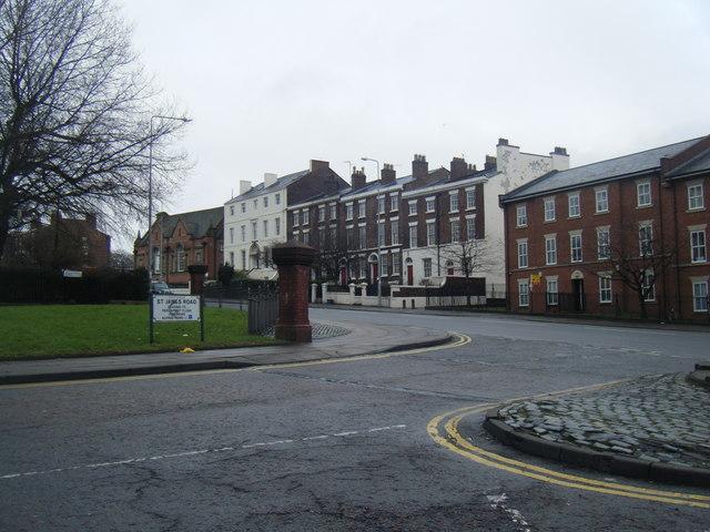 St James Road/Upper Parliament Street junction.