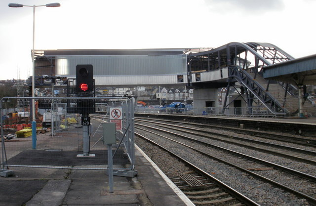 Unfinished new footbridge, Newport railway station