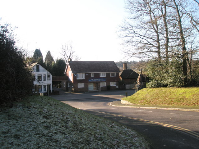 Looking from Priors Wood across Hindhead Road towards The Haslemere Clinic