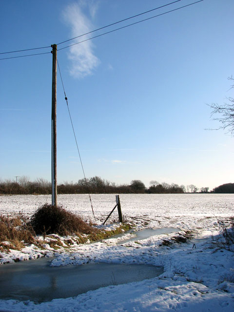 Snowy field and frozen puddles