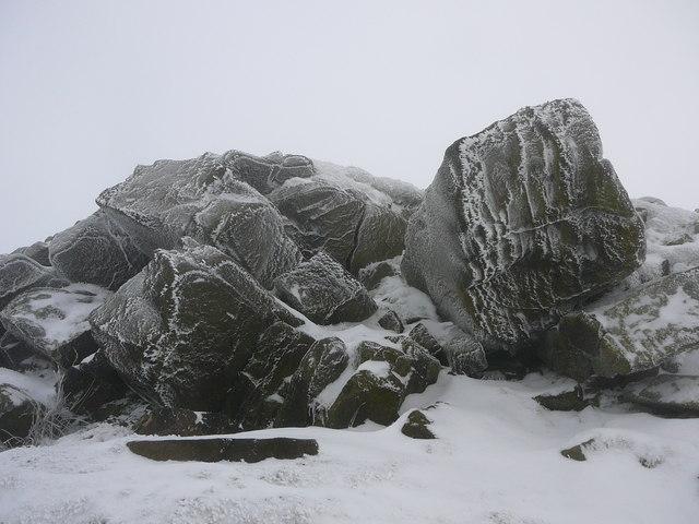 Ice coated rocks at the summit of Shutlingsloe