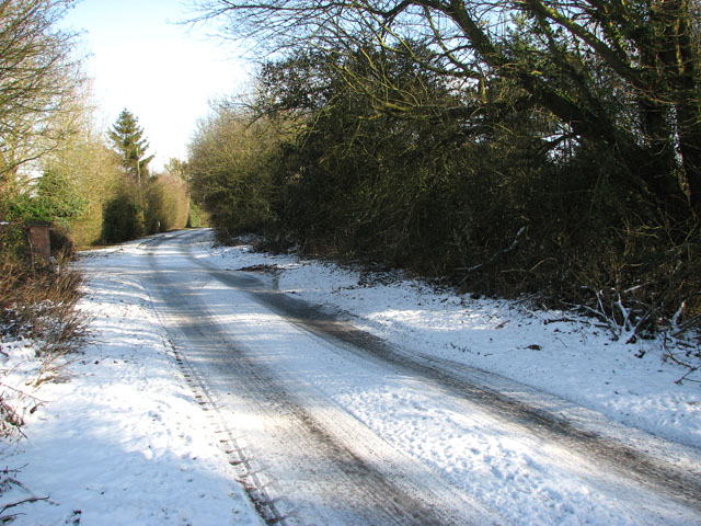 View along a snowy Springwood Lane