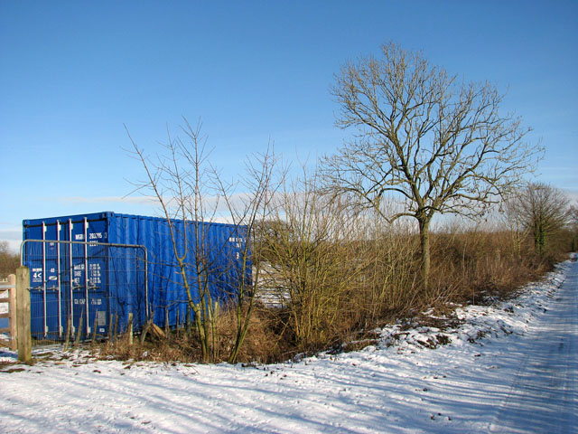 Blue container in meadow north of Springwood Lane