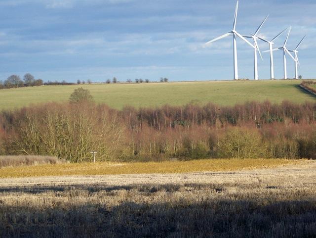 Stubble and windmills, Round Robin Farm