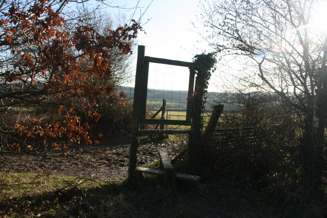 Stile where the High Weald Landscape Trail joins the lane to St Ives Farm