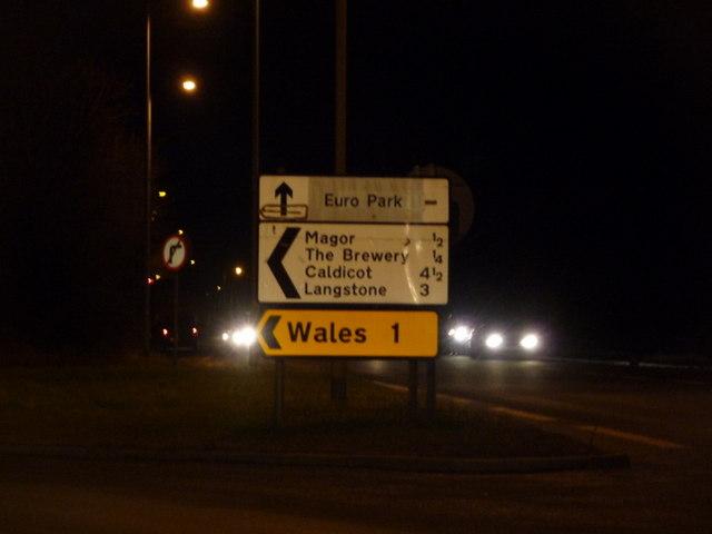 Magor: Wales 1 sign