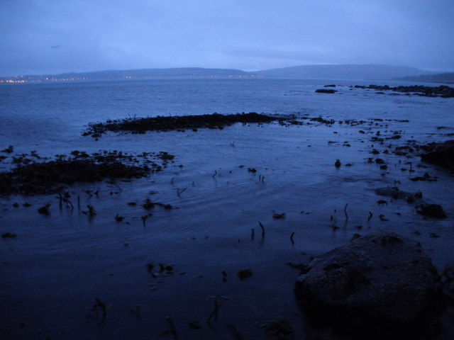 Toward Point. Lights of Rothesay in the background