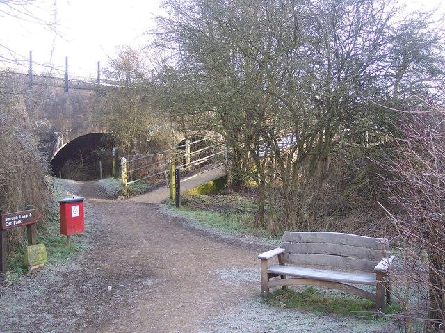 Bench, Rainbow Bridge and Railway Bridge