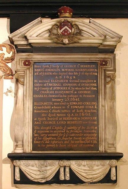 St Dunstan, Cranford - Wall monument