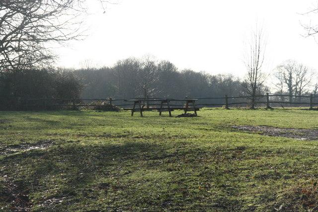 Picnic table near the lake at St Ives Farm
