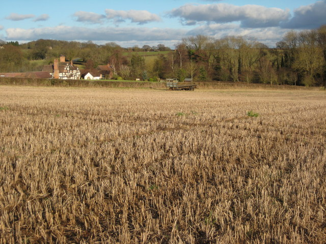 Stubble field and Brook Court, Martley