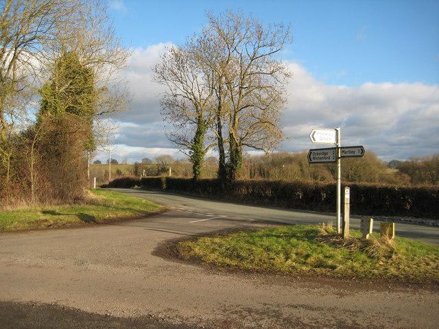 Road junction near Martley